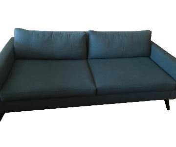 Jennifer Convertibles Blue Mid Century Style Sofa
