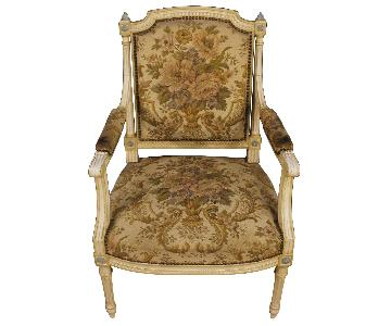 Louis XVI Style Lacquered Wooden French Armchairs