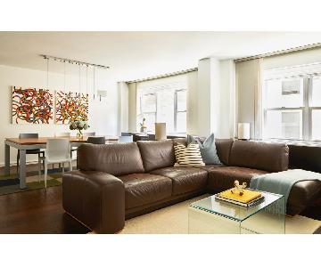 Maurice Villency Dark Brown Top Grain Leather Sectional Sofa