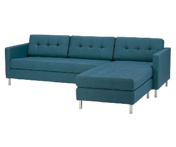 CB2 Ditto Peacock 2-Piece Sectional Sofa