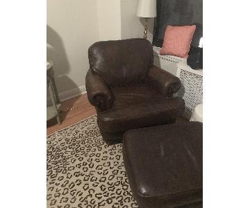Dark Brown Leather Arm Chair & Ottoman