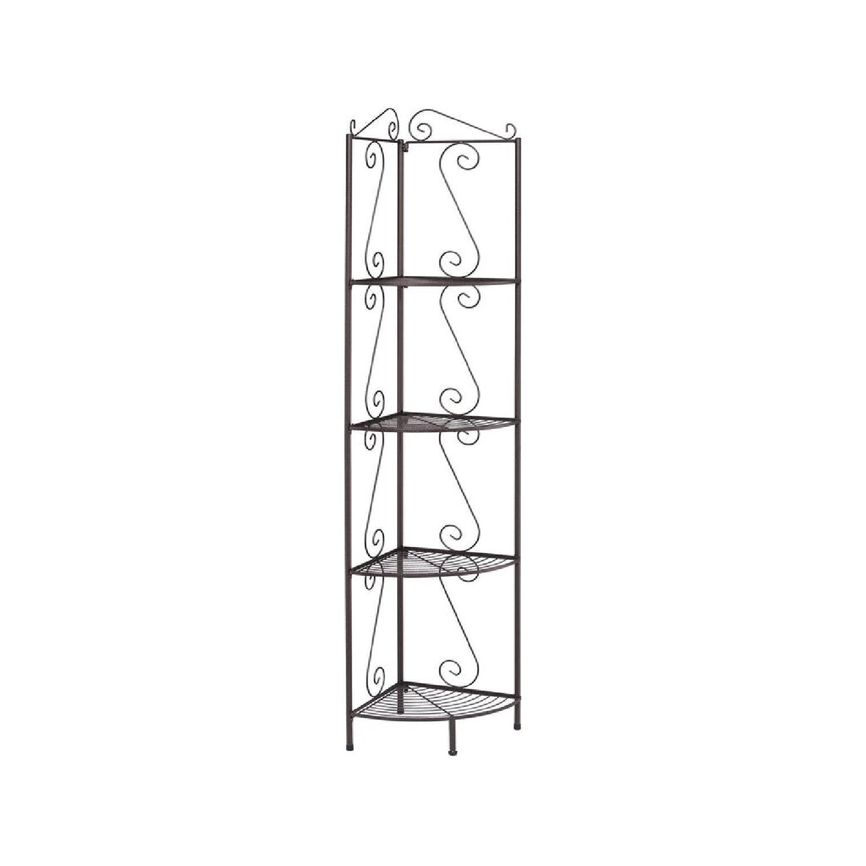 Steel Corner Shelf in Copper Finish w/ Decorative Accents