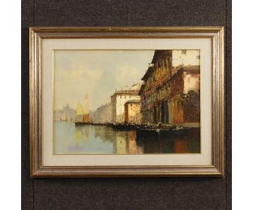 Italian Venice View Signed Painting Oil On Canvas