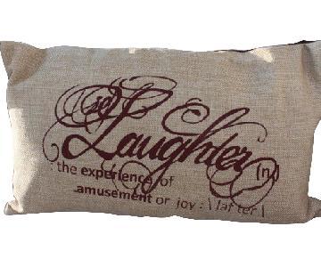 Silk Jute Screen Printed Laughter Pillow