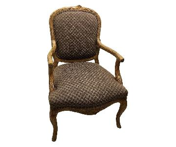 Louis XV French Style Upholstered Accent Armchairs