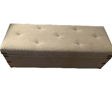 Christopher Knight Grey Storage Ottoman w/ Leather Accents