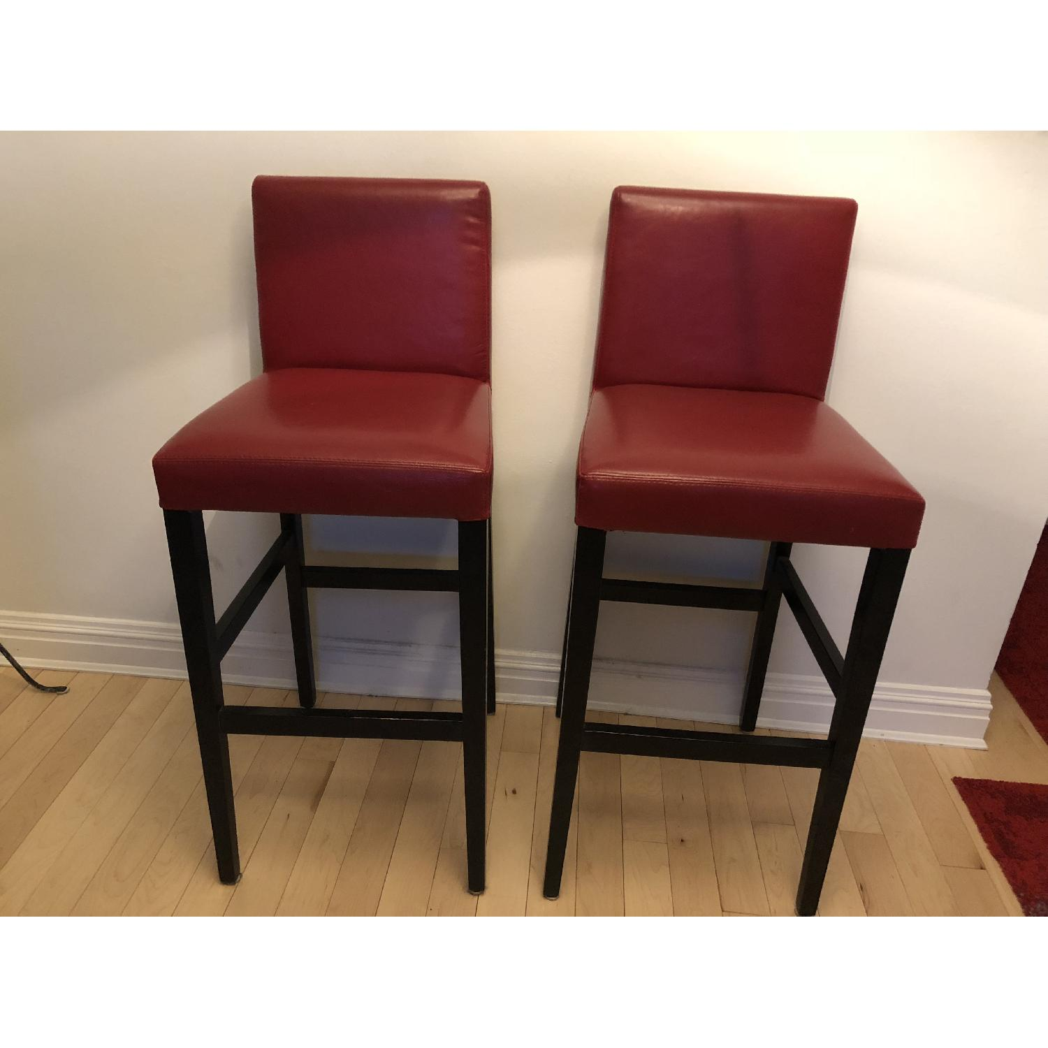 photo interior wooden stool leather against chrome red retro of vintage stock bar area and stools