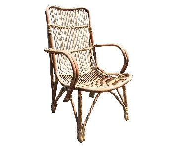 Vintage Boho Cane Rattan Tribal Chair