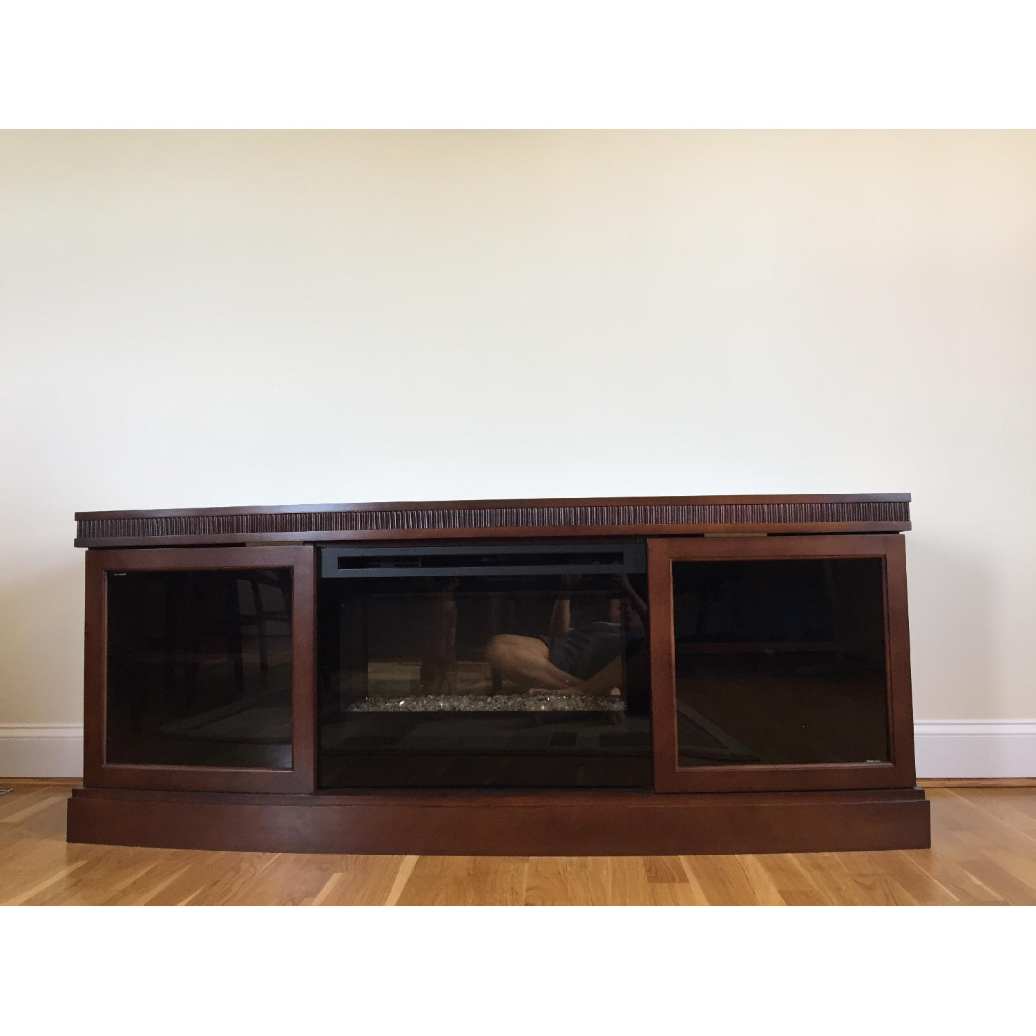 fireplace center media electric claremont convertible black