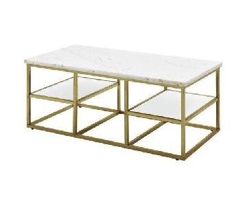 Coaster Isabelle Marble & Gold Metal Coffee Table