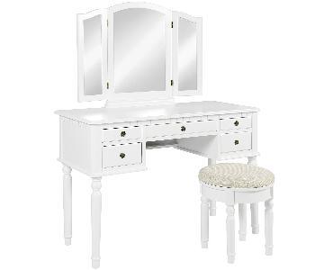 White Vanity w/ Stool