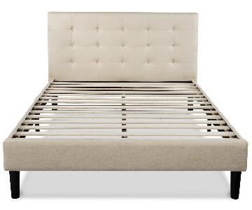 Zinus Upholstered Button Tufted Platform Full Size Bed Frame