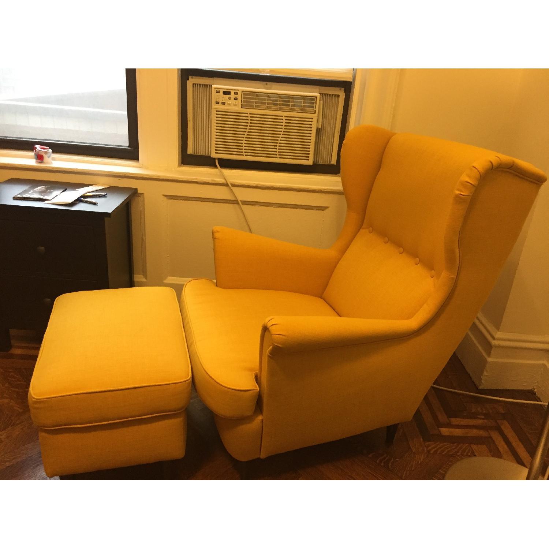 ... Ikea Strandmon Wing Chair U0026 Footrest In Mustard Yellow 1 ...