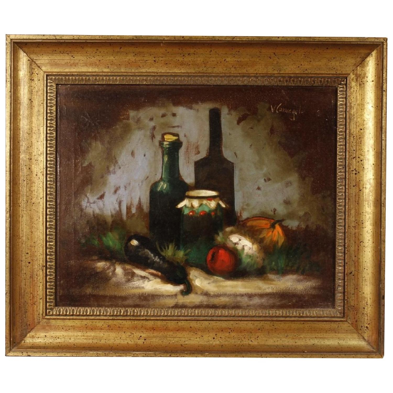 20th Century Italian Signed Still Life Oil On Canvas