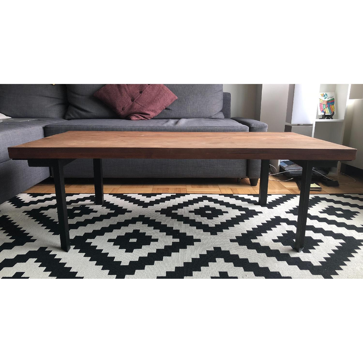 West Elm Coffee Table w Reclaimed Wood Iron Legs AptDeco
