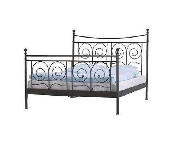 Ikea Noresund Full Size Black Iron Bed Frame