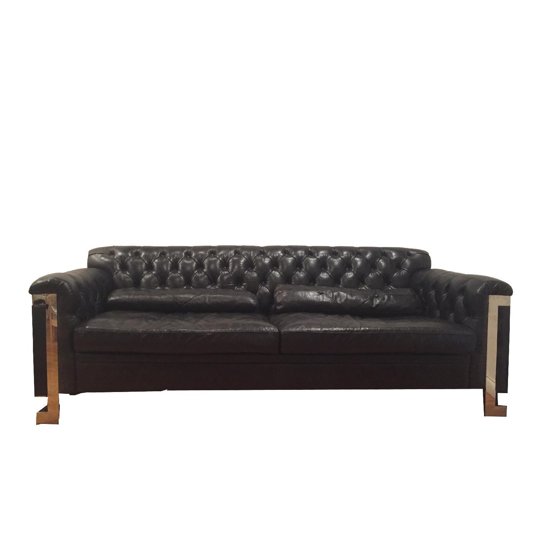 Black Leather Tufted Sofa ...