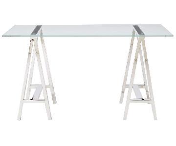 West Elm Clear Tempered Glass Desk w/ Metal Base