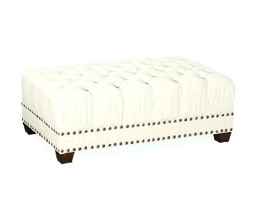 Pottery Barn Tufted Upholstered Ottoman w/ Nailheads