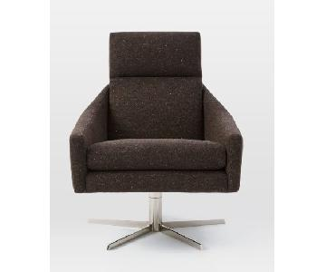 West Elm Austin Swivel Chair In Tweed Cacao ...