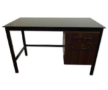 Black Glass & Espresso Wood Two-Drawer Desk