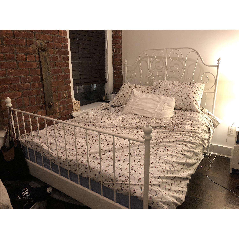 Ikea Leirvik White Metal Bed Frame W Slatted Bed Base 0