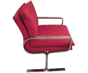Mid-Century Style Red Chair w/ Chrome Legs