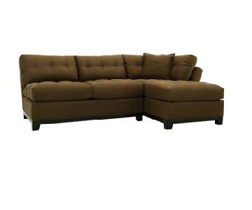Raymour & Flanigan Dark Brown 2-Piece Sectional Sofa