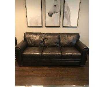 Raymour & Flanigan Marsala Dark Brown Leather Sofas
