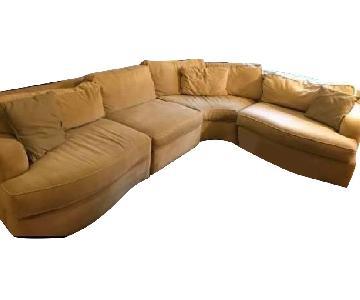 Beige Fabric 4-Piece Sectional Sofa