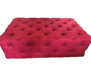 Wayfair Red Button Tufted Ottoman on Casters