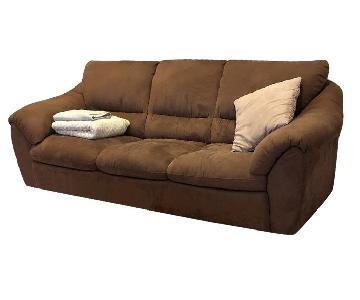 Natuzzi Italsofa Brown Microsuede Sofa