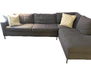 Raymour & Flanigan 2-Piece Grey Sectional Sofa