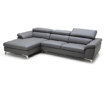 Modani Horton Grey Leather 2-Piece Sectional Sofa