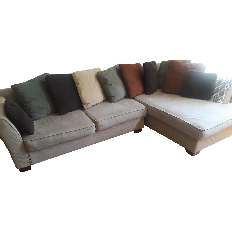 Beige Fabric 2 Piece Sectional Sofa + Swivel Chair ...