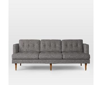 West Elm Peggy Mid-Century Retro Weave Gray Sofa
