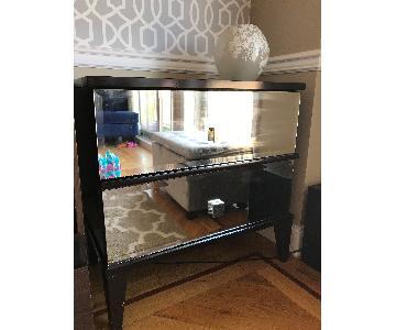 2 Drawer Side Table w/ Full Glass Exterior Panels