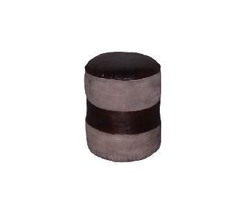 DesigneGallerie Tristin Round Leather Pouf