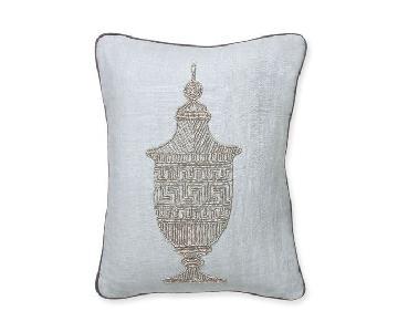Jonathan Adler Luxembourg Urn Beaded Linen Throw Pillow