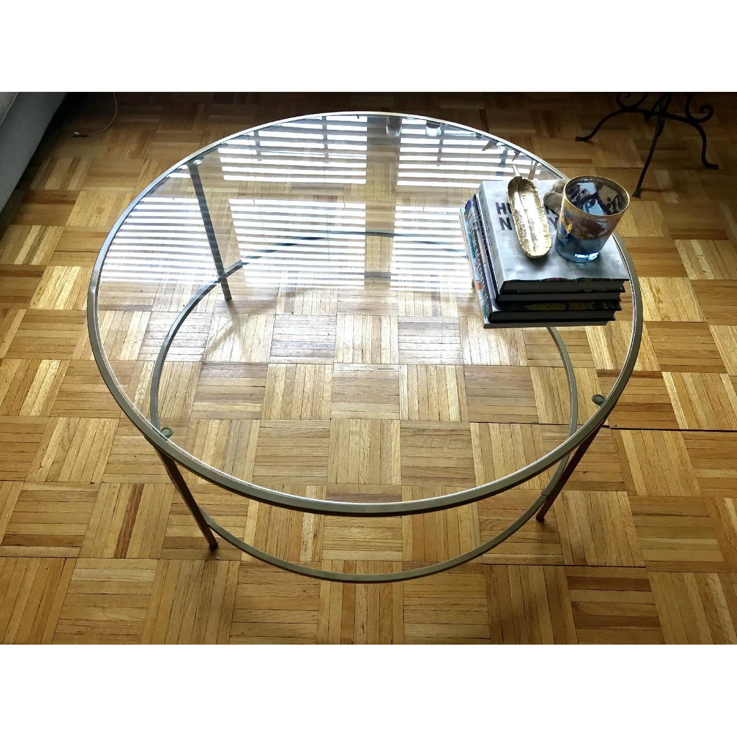 Joss Main Glass Round Coffee Table W Gold Metal Frame Aptdeco