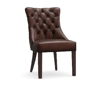 Pottery Barn Hayes Tufted Leather Dining Side Chairs