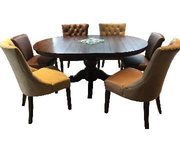 Pottery Barn Sumner Pedestal Dining Table w/ 6 Chairs