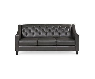Macy's Slate Grey Leather Tufted Back Apartment Sofa
