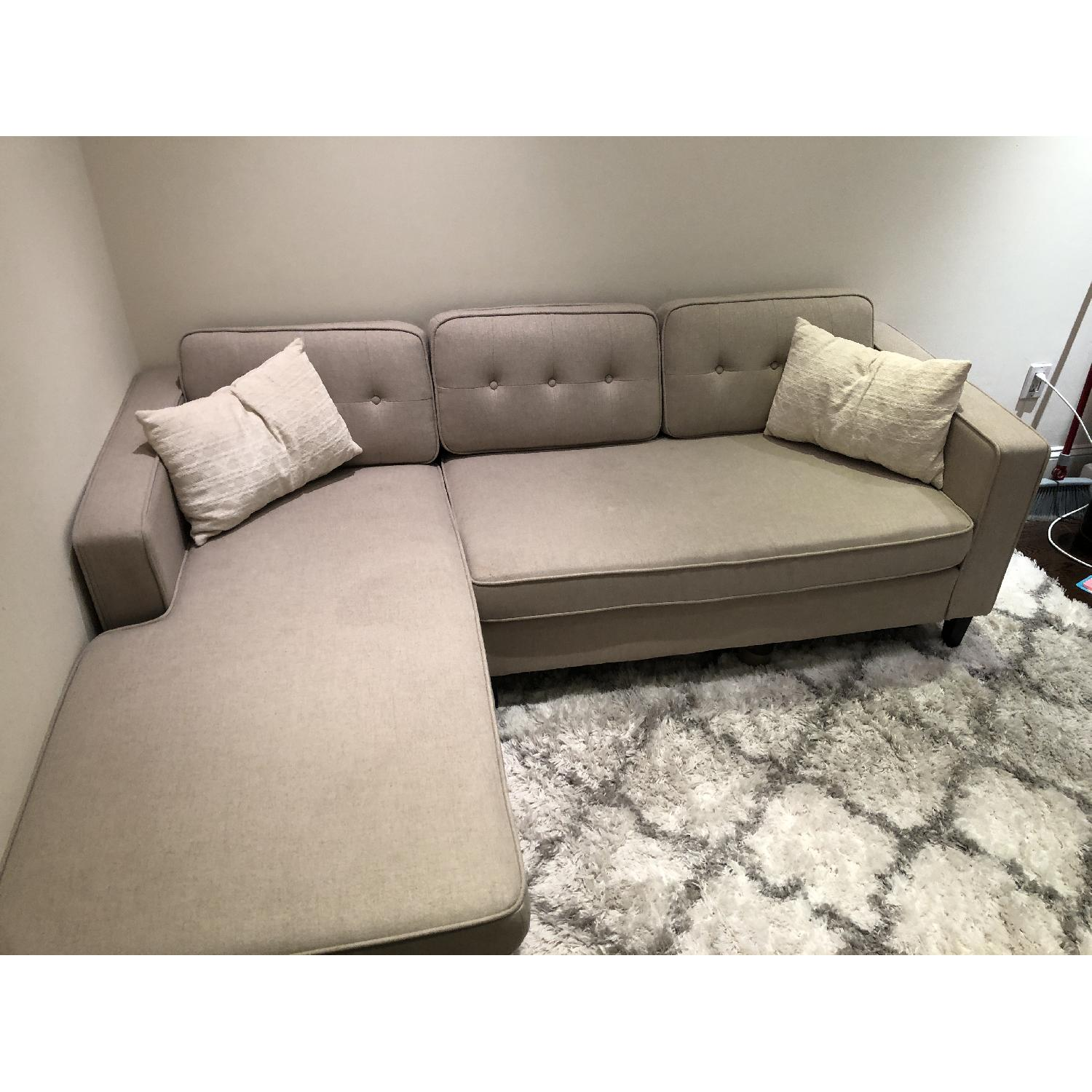 ... Windsor 2 Piece Cream Chaise Sectional Sofa 1 ...