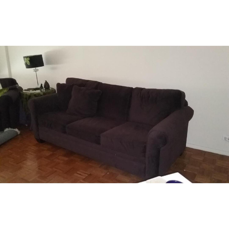 ... Aubergine Suede Queen Size Sleeper Sofa 1 ...
