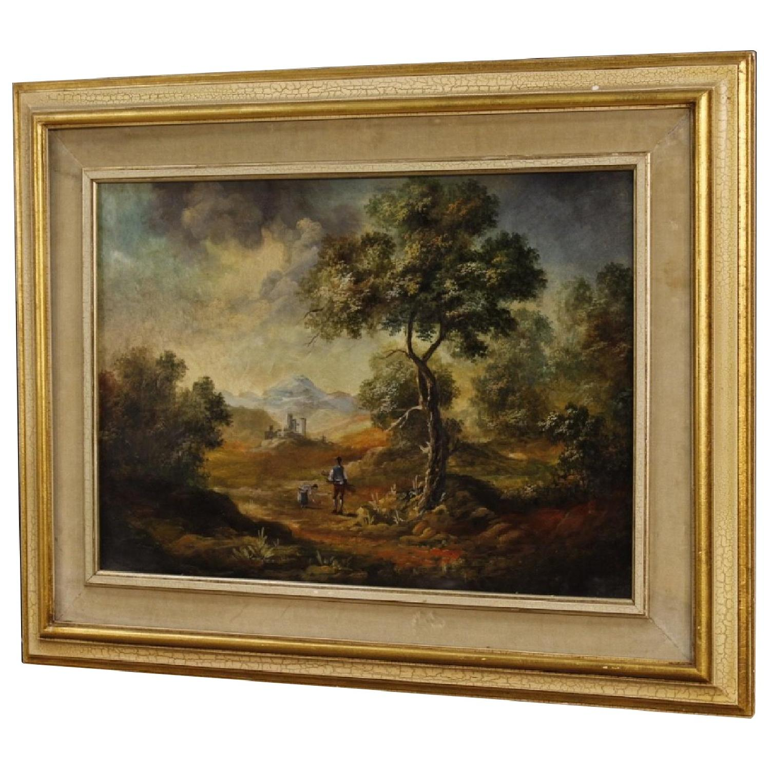 Italian Landscape w/ Characters Painting Oil On Canvas