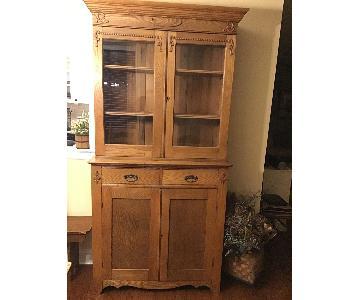 19th Century 2 Piece Oak China Cabinet