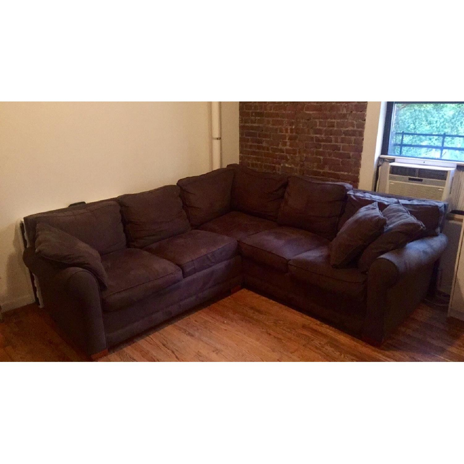 Brown Microsuede 2 Piece Sectional Sofa ...