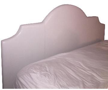 West Elm White Leather Headboard