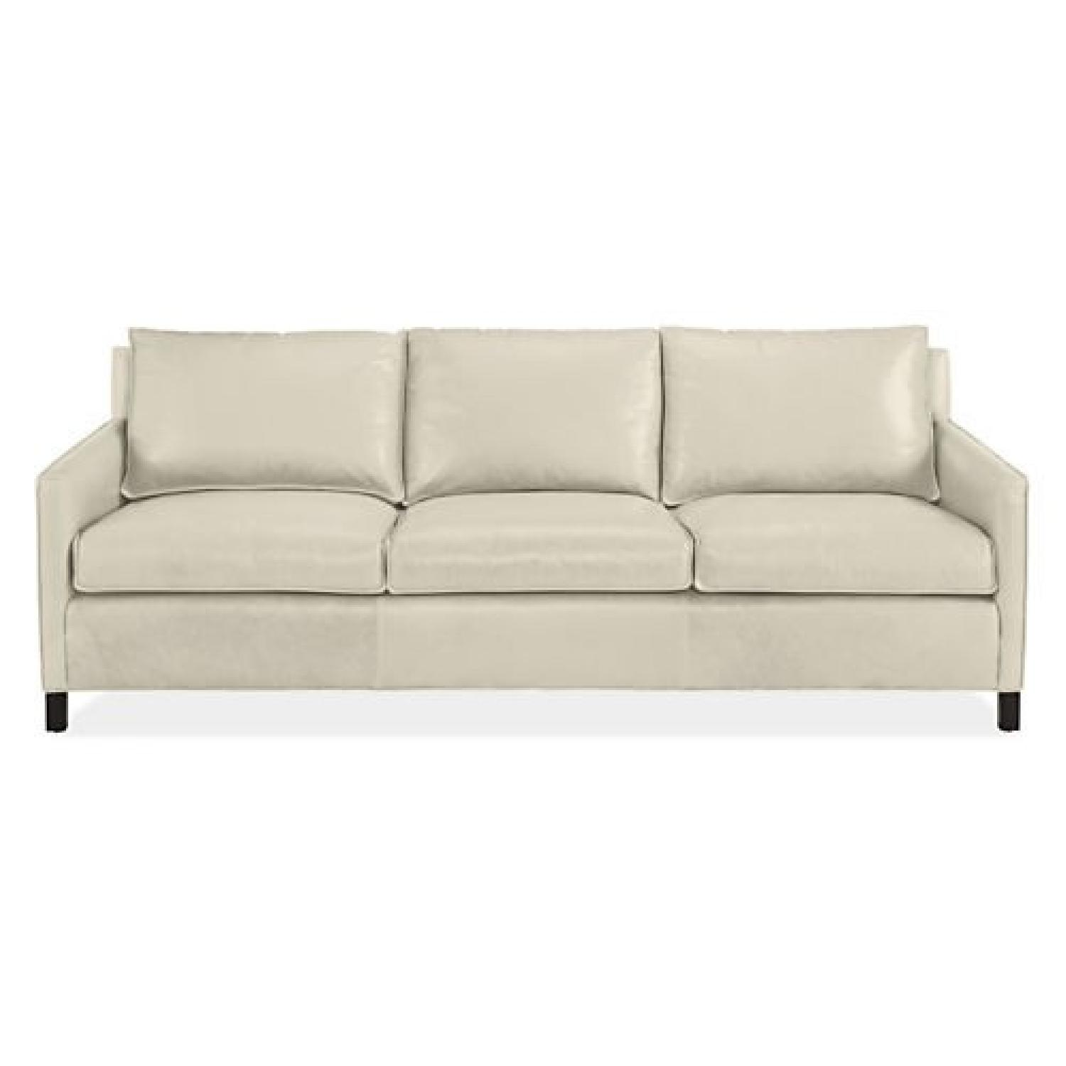 Room U0026 Board Off White Leather Sofa W/ 2 Pillows ...